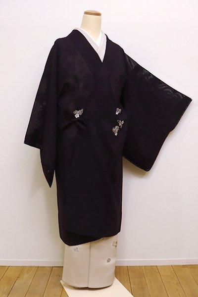銀座【E-1025】紋紗 道中着 深い似せ紫色 葡萄文