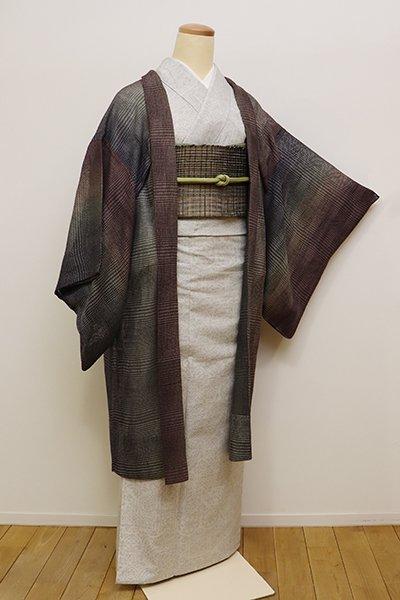 銀座【E-1026】夏 羽織 煤竹色×藍墨茶色 竪暈かし
