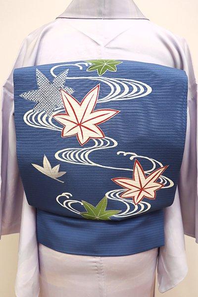 銀座【K-5956】絽塩瀬 染名古屋帯 縹色 流水に楓の図