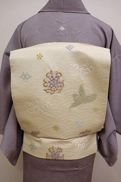 銀座【K-5959】西陣 川島織物製 絽 名古屋帯 鳥の子色 波に花や吉祥文など