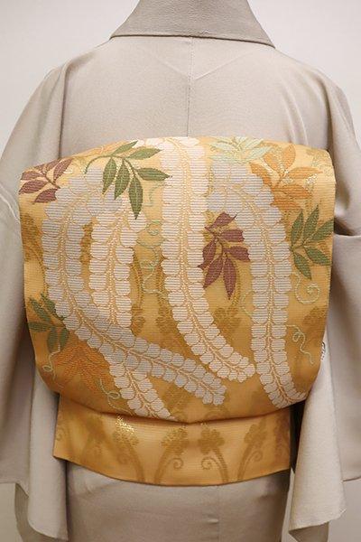 銀座【L-4416】絽 袋帯 萱草色 轡立涌に藤の図