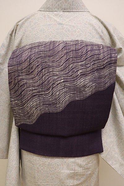 銀座【L-4419】夏紬地 織洒落袋帯 滅紫色 抽象文