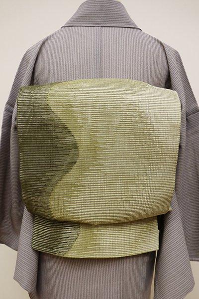 あおき【L-4421】絽紬地 洒落袋帯 根岸色 流線の図