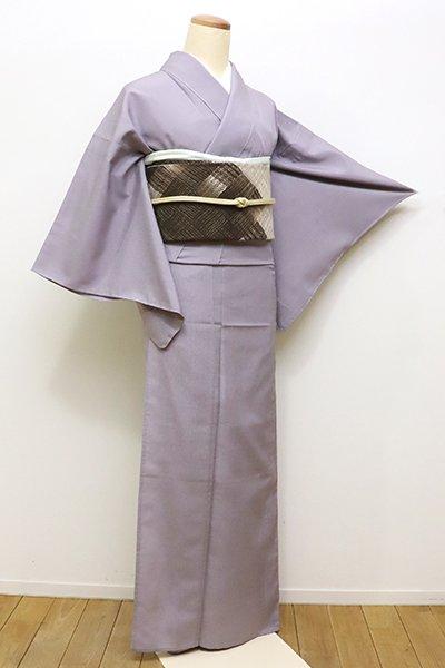 銀座【C-1594】(S)単衣 本塩沢 繍一ッ紋 色無地 薄色(しつけ付・証紙付)