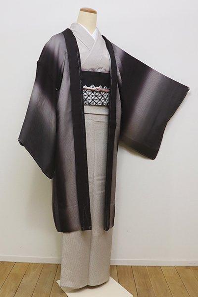 銀座【E-1029】紋紗 羽織 似せ紫色×紫鼠色 竪暈かし(しつけ付)