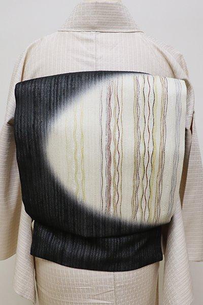 銀座【K-5966】夏紬地 織名古屋帯 黒色 抽象文