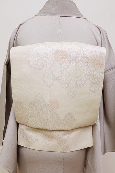 銀座【L-4425】袋帯 白練色 網目に雪輪文