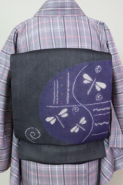 銀座【K-5969】紗紬 絞り染め 開き名古屋帯 濃墨色 蜻蛉の図