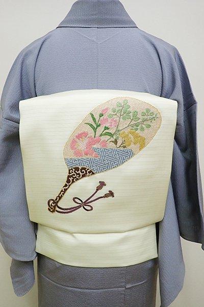 銀座【K-5970】絽塩瀬地 紗刺し切付け 名古屋帯 淡い女郎花色 団扇の図