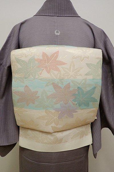 銀座【L-4428】絽 袋帯 薄卵色×淡い青竹色 横段に紅葉の図
