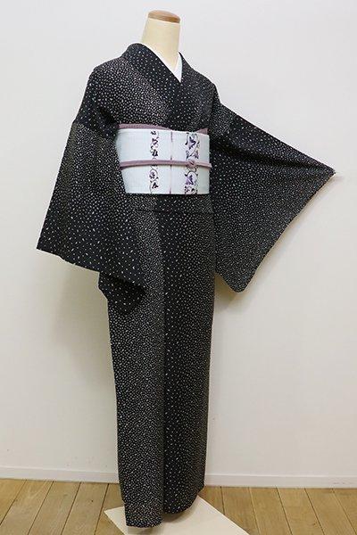 銀座【D-2189】絽 小紋 黒色 桜の花弁散らし