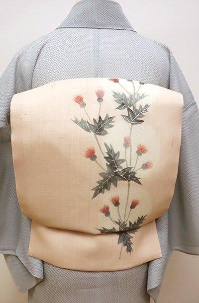 銀座【K-5972】紗紬地 染名古屋帯 灰梅色暈かし 薊の図