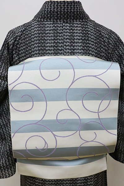 銀座【K-5974】博多織 八寸名古屋帯 白色×秘色色 横段に唐草文