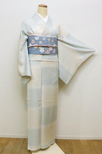 銀座【D-2191】(細め)絽 小紋 象牙色×淡い白藍色 市松暈かし(しつけ付)