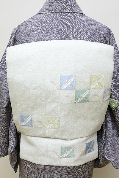 銀座【K-5975】西陣製 絽 織名古屋帯 淡い白緑色 市松に蜻蛉の図(証紙付・新品)