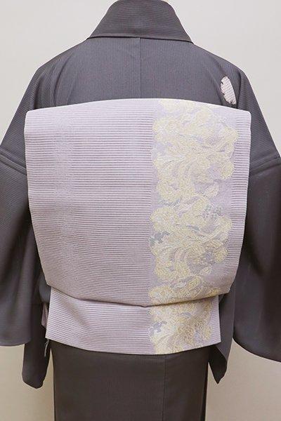 銀座【L-4435】絽 袋帯 白藤色 植物装飾文