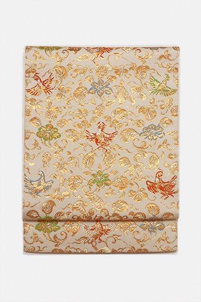 銀座【帯2960】たつむら製 本袋帯 白色「喜花慶鳥錦」