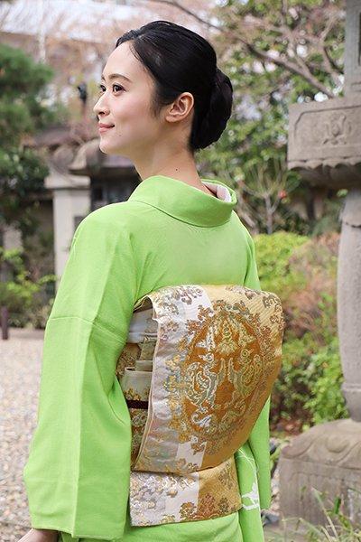 銀座【帯2961】龍村平蔵製 本袋帯 白色「天平朱雀錦」(高島屋畳紙付)