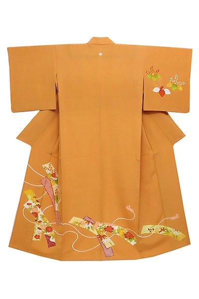 銀座【着物2422】銀座志ま亀製 単衣 染一ッ紋訪問着 柑子色 紐に短冊の図