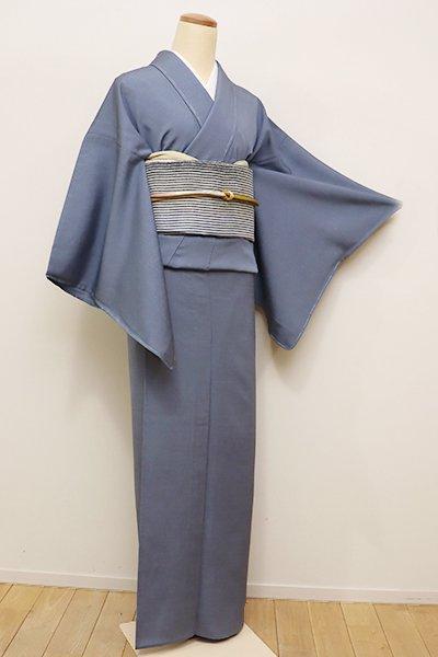 銀座【C-1599】単衣 紬 色無地 紅掛空色(落款入り・しつけ付)
