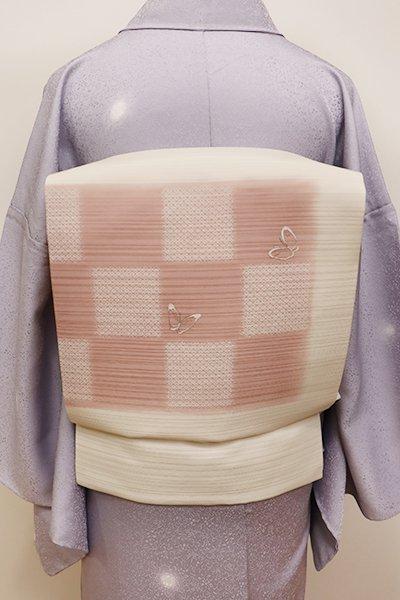あおき【K-5979】夏 染め名古屋帯 鳥の子色 市松に蝶