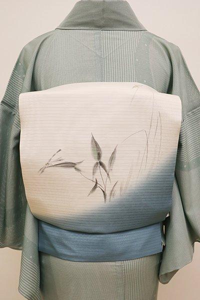 銀座【K-5981】絽塩瀬 染名古屋帯 素色×藍色 沢瀉に蜻蛉の図(落款入)