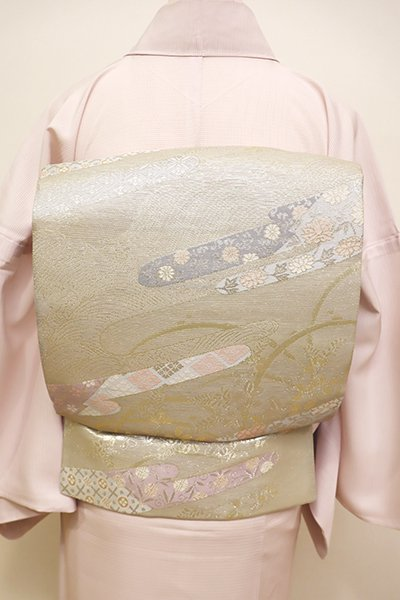 あおき【L-4438】西陣製 絽 袋帯 銀色 波や秋草に霞文(証紙付)
