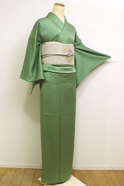 銀座【C-1601】単衣 染三ッ紋 松葉色 色無地