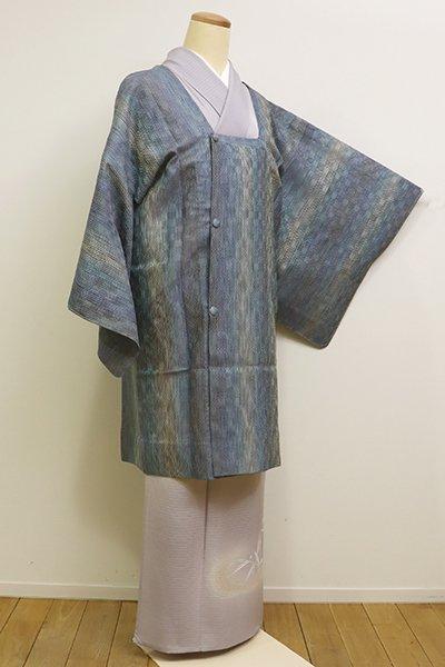 銀座【E-1033】夏 捩り織り 道行コート 薄花色系 縞に幾何文