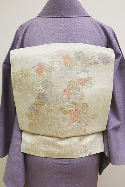 銀座【K-5982】絽 織開き名古屋帯 象牙色 蔦の図