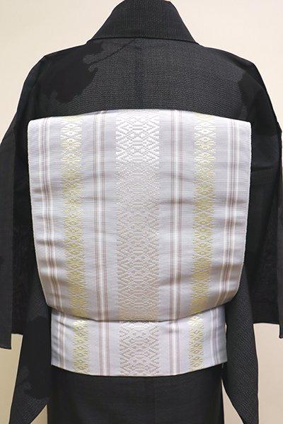 銀座【K-5984】本場筑前博多織 八寸名古屋帯 月白色 献上柄(証紙付・新品)