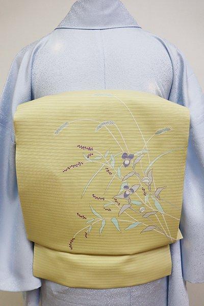 あおき【K-5985】絽塩瀬 染名古屋帯 淡黄色 秋草の図