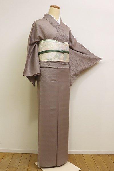 銀座【C-1602】紋紗 色無地 江戸鼠色 菱の地紋