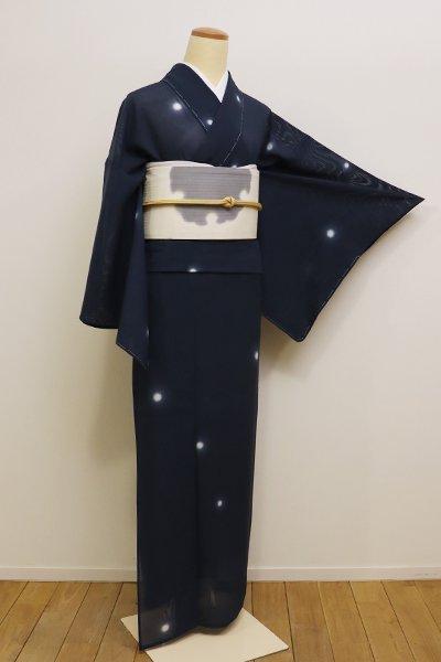 銀座【D-2199】絽 小紋 藍鉄色 蛍暈かし(新品・しつけ付)