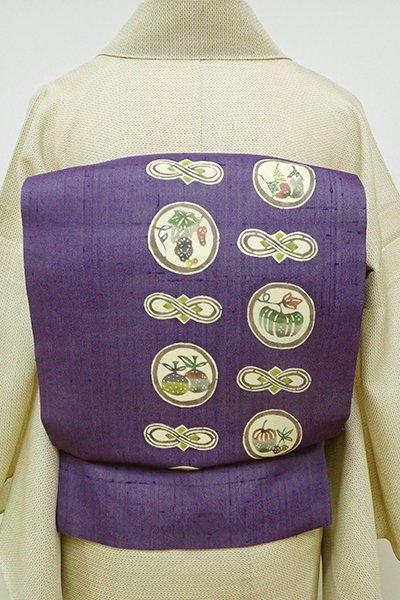 銀座【K-5998】紗紬 型絵染 名古屋帯 菫色 野菜や果物の丸文