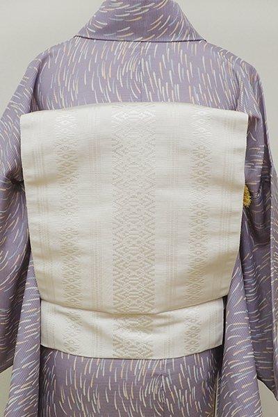 銀座【K-6000】本場筑前博多織 八寸名古屋帯 白色 献上柄(新品・証紙付)