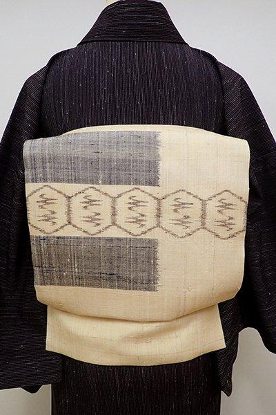 銀座【K-6003】生紬地 夏 織名古屋帯 丁子色 絣文の横段