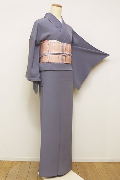 銀座【C-1609】単衣 染一ッ紋 青みの灰色 色無地(しつけ付)