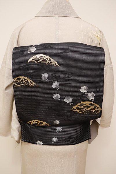 銀座【L-4450】絽 袋帯 黒色 蛇籠に千鳥の図