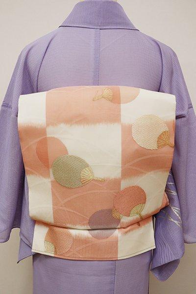 あおき【L-4451】紗 袋帯 白色×曙色 団扇文