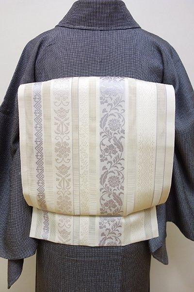 銀座【K-6008】本場筑前博多織 紗 八寸名古屋帯 白色 縞に唐草文(新品・証紙付)