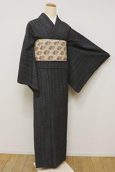 銀座【A-2794】単衣 本塩沢 黒色 絣の変わり縞