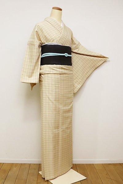 銀座【A-2796】単衣 長井紬 蜂蜜色 格子(しつけ付・新品・反端付)