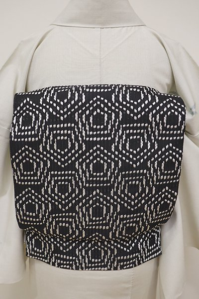 銀座【K-6012】本場筑前博多織 紋織り 八寸名古屋帯 黒色 幾何文(証紙付)