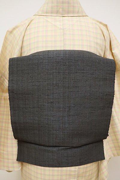 銀座【K-6015】葛布 八寸名古屋帯 藍墨茶色 無地(反端付・未使用)