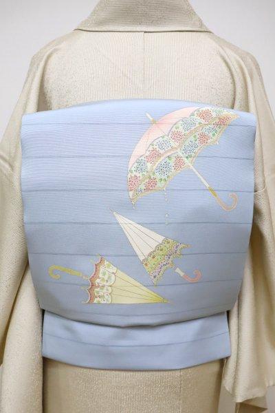 銀座【K-6016】変わり絽塩瀬 染名古屋帯 淡い薄花色 パラソルの図