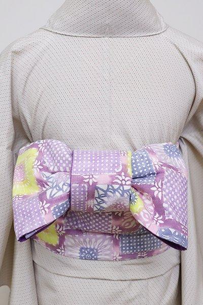 銀座【K-6018】藤本染工芸 木綿地 木版染め 半幅帯 二藍色系 花と割付文