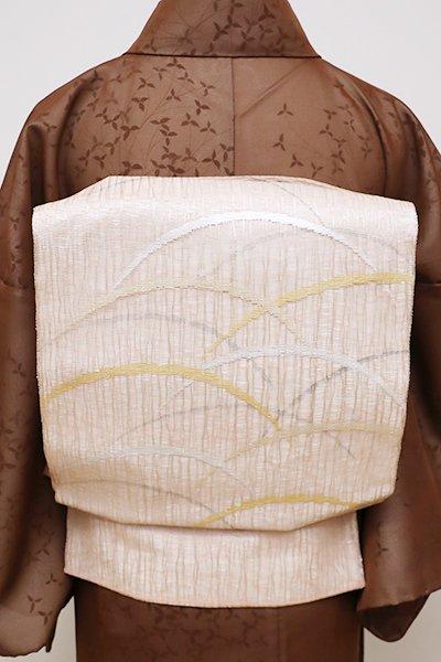 銀座【L-4458】夏 よろけ織 袋帯 一斤染色 芝文