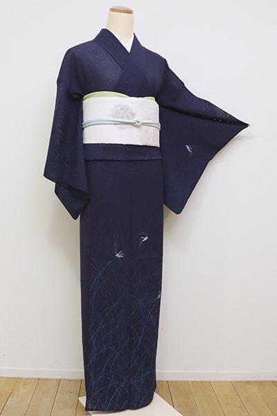 銀座【B-2200】絽 訪問着 深い濃藍色 こおろぎの図