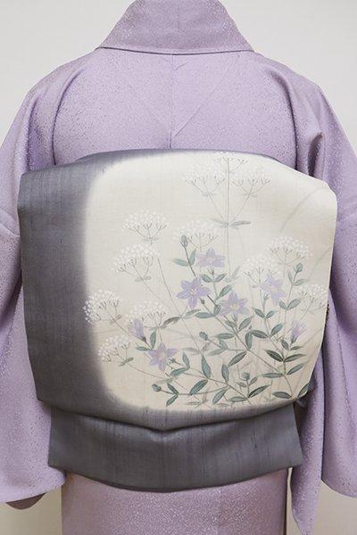 銀座【K-6022】紗紬 染名古屋帯 鉛色 秋草の図